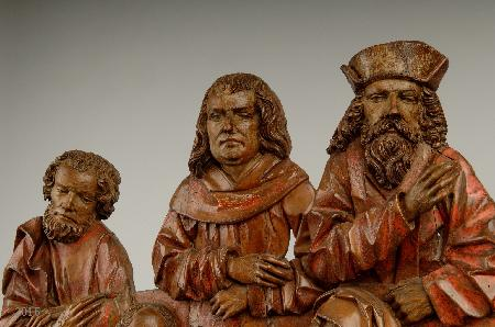 Close-up of the three husbands of Saint Anne. On my screen, WordPress is showing them vertically elongated. You can click through to see the museum's own reproduction, and can select the same detail.